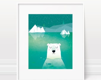 Nursery wall art - Polar bear print, cute wall art, original nursery art, animal nursery print, baby boy decor, boys nursery art