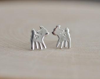 Baby Deer Stud Earrings in Sterling Silver 925 / Sterling Silver Fawn Earrings/ Baby Deer Earrings / Children's Earrings / Jamber Jewels 925