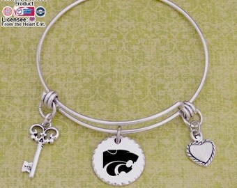 Kansas State Wildcats Disk Memory Wire Bracelet