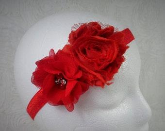 Red Baby Headband, Baby Girl Headband, Baby Flower Headband, Newborn Headband, Baby Girl, Little Girl Headband, Flower Headband, Shabby Chic