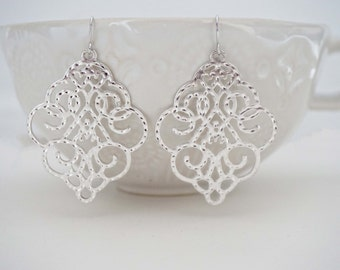Silver Textured Filagree Pattern Earrings