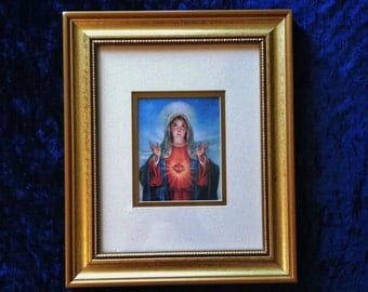 Immaculate Heart Of Mary Matted Print In Vintage Gold Wood Frame
