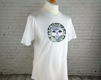 SALE Men's, casual T shirt, white tee, mask design, mask on shirt, handprinted 2 colour print white T -shirt, grunge smart tee