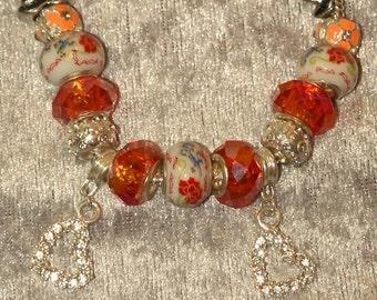 European Style Charm Bracelet in Peach and Orange