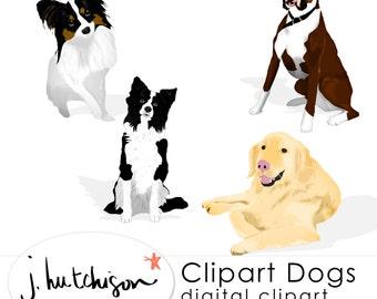 Commercial Use Instant Download Clip Art Dogs - Border Collie, Boxer, Golden Lab, Papillon