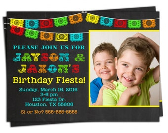 Mexican Fiesta Invitation - Papel Picado Bunting Personalized Birthday Invitation - You Print - With or Without Picture