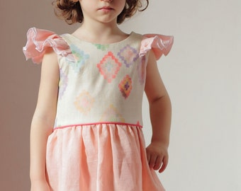 butterfly sleeves dress - linen fower girl dress - peach linen and double gauze cotton dress - summer dress for toddler and girl
