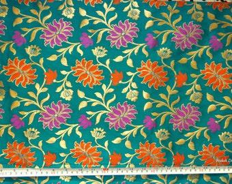 Teal Silk Jacquard fabric Homespun Brocade fabric by the yard