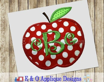 Apple Applique - Apple Embroidery Design - Back to School Applique - Apple Picking Applique - Apple Monogram Applique - Apple Monogram