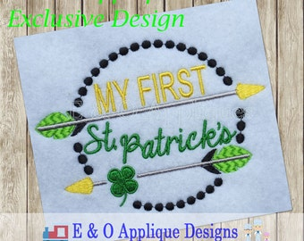 My First St Patrick's Day Embroidery Design - St. Patrick's Embroidery Design - 1st St. Patrick's Embroidery - 1st St Patrick's Applique
