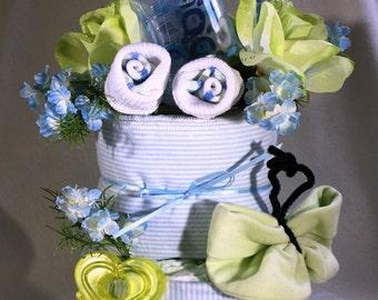 Diaper Cake,Baby Shower,Boy 2 Layer Baby Boy Diaper Cake,Baby shower Decor,Baby Shower Gift,Baby Shower Favor,Baby boy diaper cake,Boy Cake