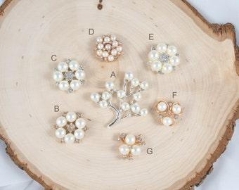 Pearl Rhinestone Embellishment - Wedding Embellishment - Pearl Flatback Accessories - Pearl Tree - 4 pieces