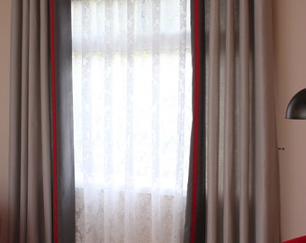 "Custom Drapes ""Cheval"" in colour Silver with Pewter border and Red ribbon ,solid coloured drapes"