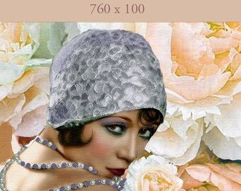 Flapper Girl, etsy Shop small Banner, Instant download, Blank, 760 x 100 pixels, vintage theme, lady flowers, lavender, peach, hat 1920s
