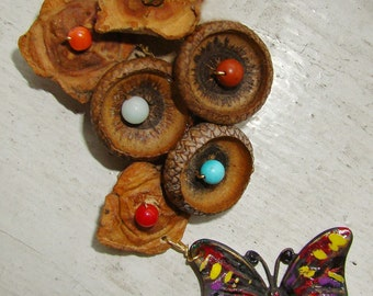 Persimmon and acorn Brooch