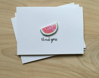 Watermelon Thank You Cards, Watermelon Notecards, Cute Summer Notecards | Set of 8