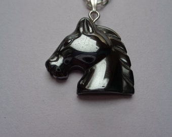 Silver plated metal chain necklace with Hematite Horse head pendant