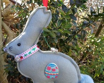 Hand made Grey felt Easter bunny rabbit hanging decoration