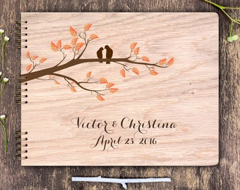 Love Birds Guest Book, Guest Book Wedding, Wood Wedding Book, Wood Guest Book Birds, Guest Book Wood, Wedding Book, Wedding Tree Guest Book
