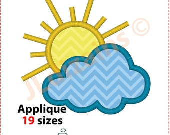 Cloudy Applique Design. Sun embroidery design. Sun applique design. Cloud applique embroidery. Sunny applique. Machine embroidery design.