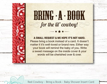 Red Cowboy Bring a Book for the Baby Insert Card Baby Shower Game, Instant Download, Printable, Books For Baby, Boy, Gender Neutral, 005C