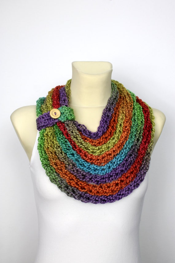 Knitting Pattern For Rainbow Scarf : Rainbow Knit Scarf Chunky Infinity Scarf Knit Chain Scarf