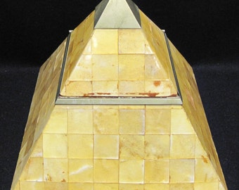 Vintage Enrique Garcel Tessellated Horn Pyramid Table Box