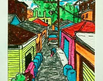 "Chicago Alley #171 (ARTIST TRADING CARDS) 2.5"" x 3.5"" by Mike Kraus"