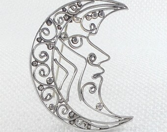 Vintage Sterling Silver Scroll Design Moon Brooch Pin Unique 70's Sterling Moon Pin Brooch Collectible Moon Pin Stunning Sterling Moon Pin
