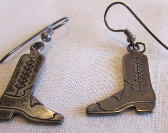 Sterling Silver Wire Dangle Cowboy Boot Earrings