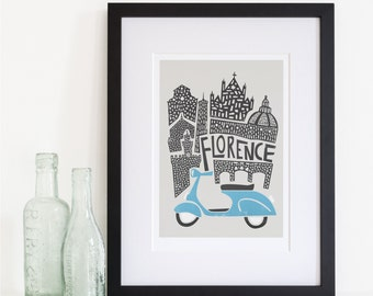 Florence Cityscape Print, City Skyline, Travel Art, Retro Scooter, Living Room Decor, Tuscany Italy, Europe, Firenze, Architecture Art
