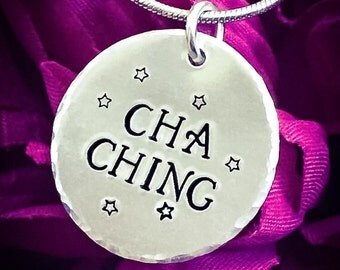 Cha Ching Hand Stamped Necklace. Seller Necklace, Sale Necklace, Cha Ching Necklace, Business Owner Necklace, Business Necklace
