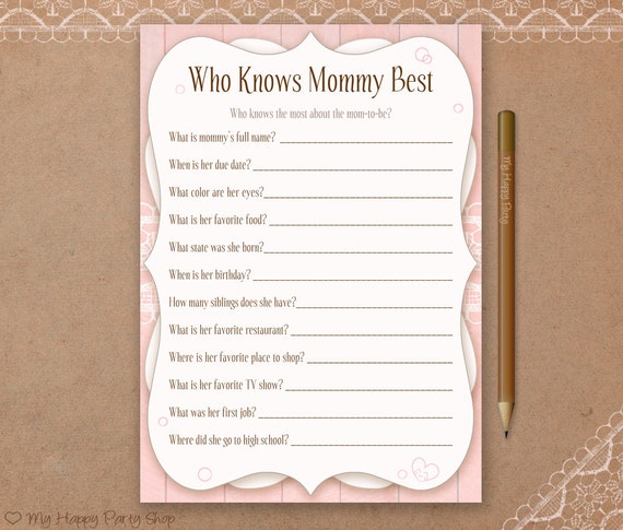 Who Knows Mommy Best Card Printable Girl Baby Shower Games