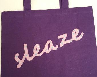 purple 'sleaze' bag, tote bag, fabric shpper bag, polka dot applique