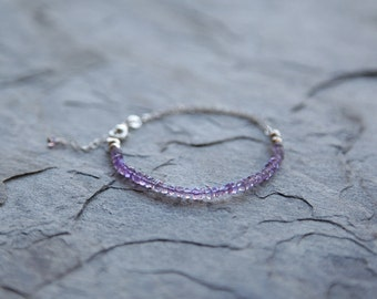 SALE 40% OFF! Beaded amethyst and sterling silver bracelet