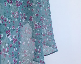 Ballet wrap skirt, made to order - green with dark pink flowers