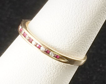 Size 7 10k Yellow Gold Diamond And Red Spinel Ring