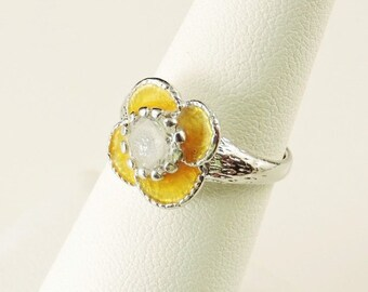 Size 6 Sterling Silver And Resin Yellow Flower Ring