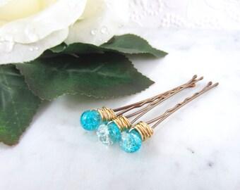Something Blue Hair Pins - Blue Bobby Pins - Bridal Hair Clips - Hair Pin Set - Wedding Hair Pin - Hair Accessories - Bridesmaid Hair Pins