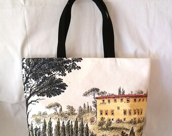 "Tote bag canvas, printed picture,  engraving ""Vetuta di Montoliveto"", beautiful copy of part, hand made in France"