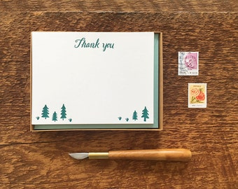 Pine Trees Thank You, Boxed Set of 8 Letterpress Flat Notes, Boxed Stationery