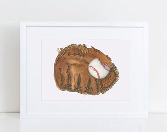 Baseball Wall Decor - Art Print - Baseball Glove Child Bedroom Wall Decor - Baseball Watercolor - Original Art Print