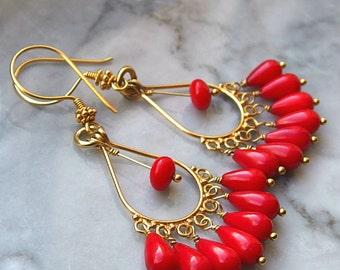 coral chandelier earrings gold Bollywood fancy dangle drop fringe orange 24k Bali gold vermeil smooth teardrop beads gemstone Boho Bali