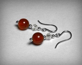 Carnelian  Earrings & Swarovski Crystal, in Sterling Silver, Genuine Carnelian Dangle Earrings, Red Earrings, Swarovski Crystal Earrings,