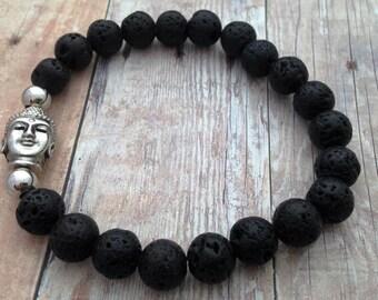 Lava Stone Bracelet-Buddha Bracelet-Stretch Bracelet-Yoga Jewelry-Lava Rock Bracelet-Stone Bracelet- Bohemain Jewelry - Positivity Bracelet