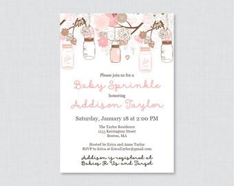 Mason Jar Baby Sprinkle Invitation Printable OR Printed - Rustic Baby Sprinkle Invites in Pink and Brown Mason Jars and Flowers 0064-P