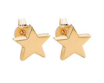 14k gold star earring studs