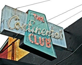 CONTINENTAL CLUB ~ Handmade 5x7 Photo Greeting Card - Card Stock and Envelope made from 100% Recycled Materials