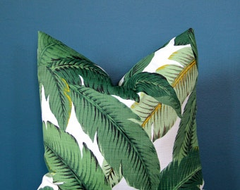 Tropical Pillow Cover - Palm Leaf Pillow Cover - Island Decor - Outdoor Pillow Cover - Swaying Palm Pillow - Banana Leaf - Hollywood Miami