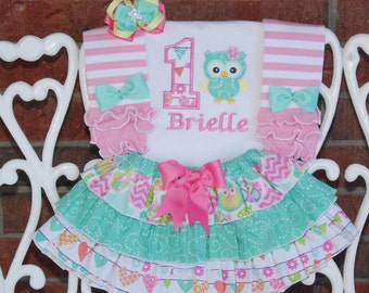 Owl Birthday Outfit! Baby Girl First Birthday Outfit! Baby Girl Owl Birthday outfit/First birthday outfit/Mint and pink birthday outfit/owl